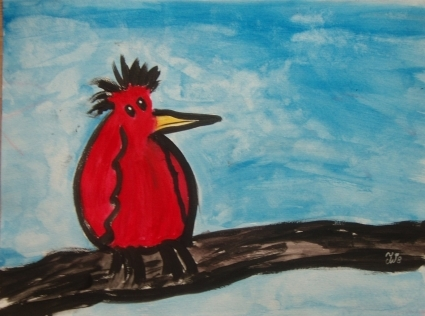 red lonely bird