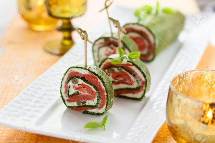 spinach salmon canape