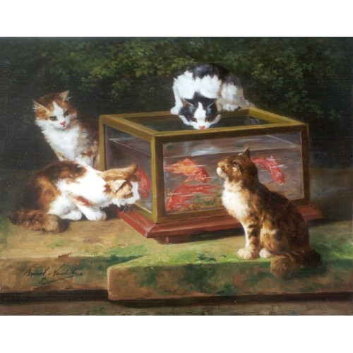 four-cats-around-an-aquarium-Alfred Brunel de Neuville