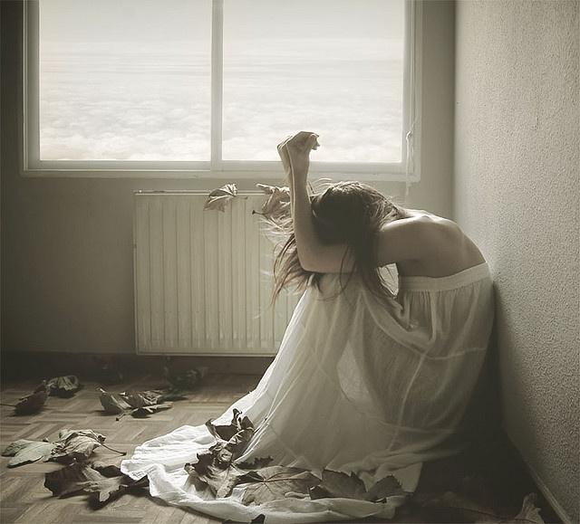 girl leaves